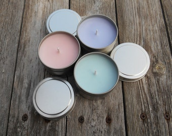 Soy Candle Tin 4 Ounce Travel Tin Choose your Scent Rustic