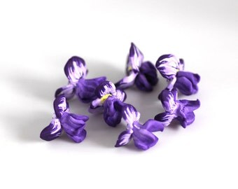 Iris Beads, Heirloom Flower Beads, Purple Polymer Clay Beads, 7 Pieces