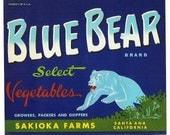5 Vintage 1940's plus Vegetable Crate Labels Sakioka Farms Santa Ana , CALIFORNIA  BLUE Bear , Roy Boy , BLUE Mink , White House , Hillview