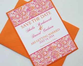 Pink and Orange Tropical Damask Destination Wedding Save the Date