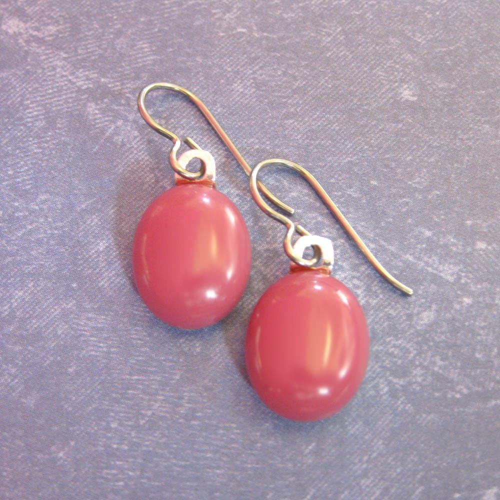 Dark Pink Niobium Earrings Dangle Hypoallergenic Earrings