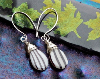 Mali Wedding Beads with Argentium Sterling Silver Modern Ear Wires by kgkiser 2014