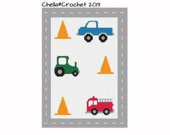 INSTANT DOWNLOAD Little Boy vehicles Truck Tractor Fire Engine Cones with Road Boarder Crochet Pattern Graph