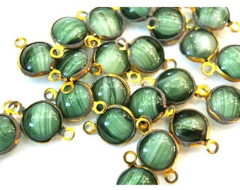 6 Vintage Austrian glass channel connectors beads, might be Swarovski, green shade