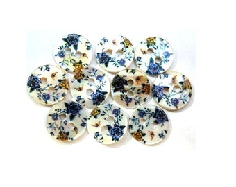 10 Shell buttons floral ornament beautiful design in blue and yellow shade 11.5mm GREAT for button jewelry