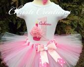 Baby Girl 1st Birthday Tutu Outfit - Cupcake - Pink Tutu - Cake Smash Photo Prop