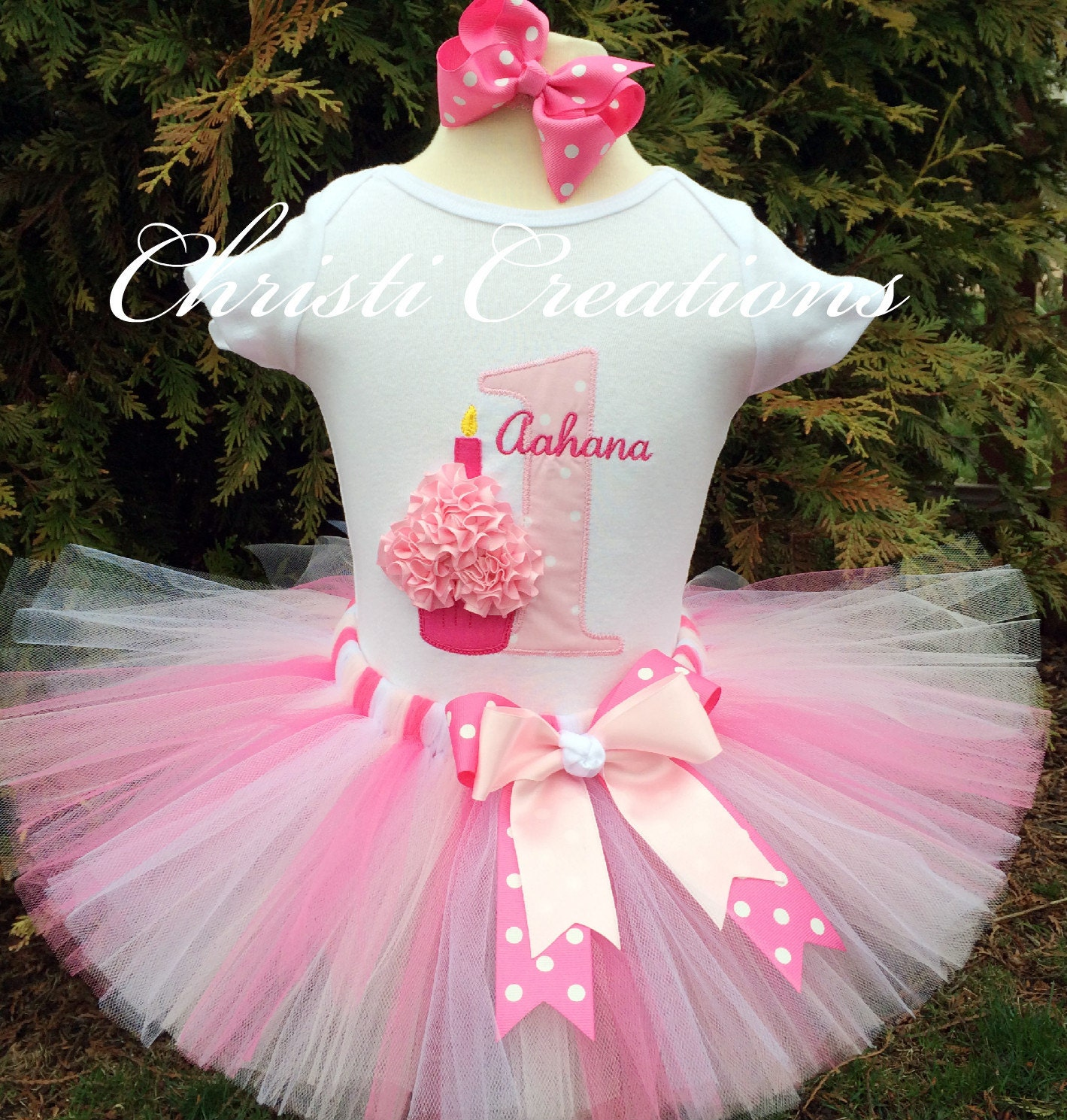 Birthday Party Outfit: Baby Girl 1st Birthday Tutu Outfit Cupcake Pink Tutu