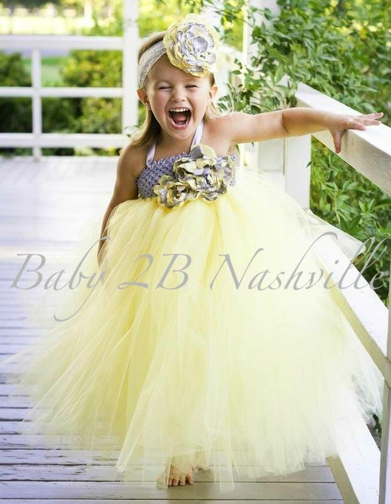 Yellow and silver wedding dresses : Yellow dress flower girl silver tulle tutu