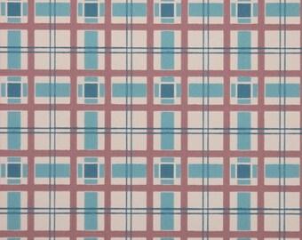 1950's Vintage Wallpaper - Plaid Vintage Wallpaper of Pink and Aqua Blue