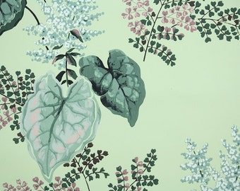 1940s Vintage Wallpaper by the Yard - Beautiful Pink and Green Leaves Ferns and Flowers