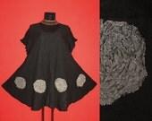 Loose Casual Short Black Fairy Pixie Flower Tunic DRESS Plus Size 20 22 24 26 Floral Lagenlook 2X 3X