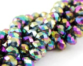 Electroplated Glass Faceted Rondelle Beads, Titanium Rainbow, 6x4mm, Approximately 17in, Fire Polished AB , SBG-001F