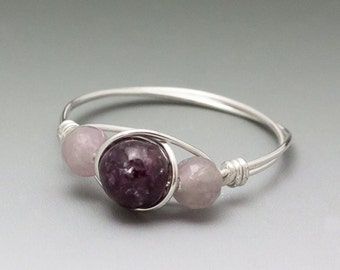 Dark & Light Lepidolite Sterling Silver Wire Wrapped Bead Ring - Made to Order, Ships Fast!