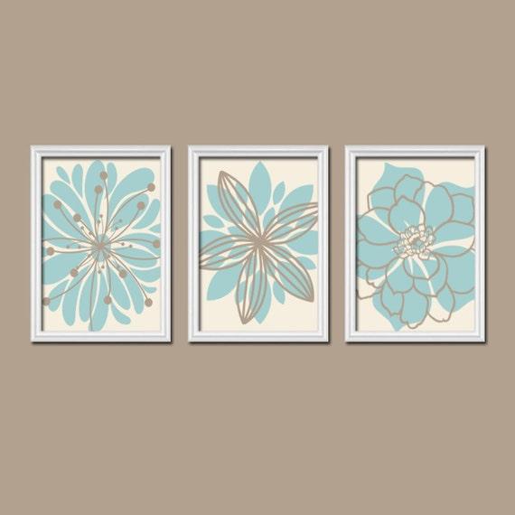 Aqua Beige Bathroom WALL ART CANVAS Or Prints Artwork Bedroom