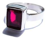 Rhodolite Garnet Ring 925 Sterling Silver Engagement Ring
