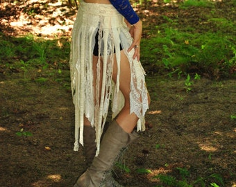 Gypsy Skirt, CUSTOM FOR YOU, Pixie Skirt, Interstellar Weave, Tattered Tutu, Hippie Skirt, FestiVaL Clothes, Intergalactic Apparel