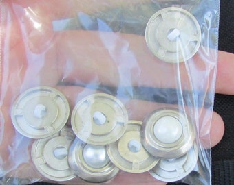 silver with pearl bead buttons set of 8