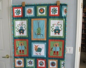 Modern Boy's Cogsmo Robot Quilt or  Wall Hanging