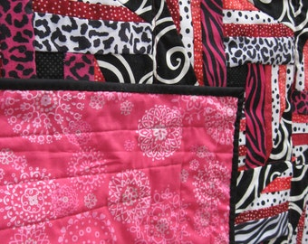Valentine's Day Lap or Throw Quilt in hot pink, black, white and ultrta suede animal prints