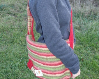 SALE! Knit Felted Bag- Multi Striped Wool with Knit Strap