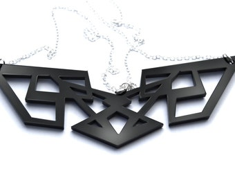 Black Geometric Necklace Transformers Laser Cut Acrylic Perspex on Sterling Silver Chain