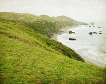 Beautiful spring green cliffs along the northern California coast, fine art photography print - Green Land