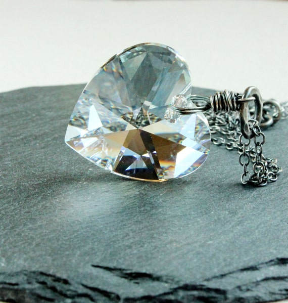 Clear Swarovski Necklace    Oxidized Silver    Heart    Jewelry     Crystal Pendant
