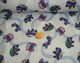OFF road trucks on slub knit cotton fabric 1 YD