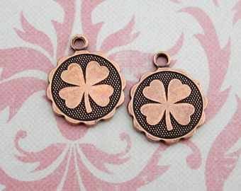 NEW 2 Copper Clover Disk Charms 3483C