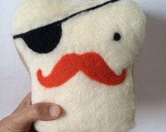 Plush Friend- Mr. Pirate Toast Pillow - Stuffed Needle Felted Cute Pillow, Handmade by Val's Art Studio, Plush Bread Pillow, Teen gift