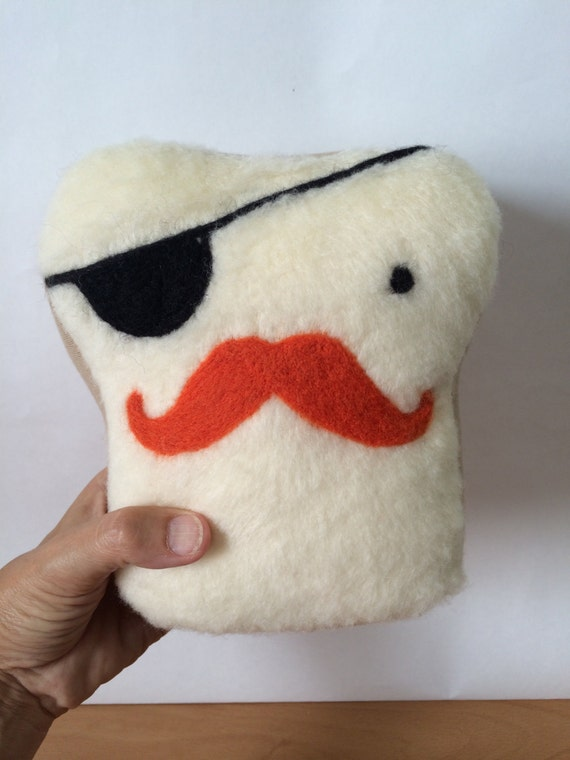 Plush Friend- Mr. Pirate Toasty - Stuffed Needle Felted Friend by Val's Art Studio