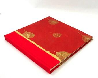 Custom Photo Album Red Bodhi Leaf - great for Wedding Album, Photo Booth Album, Rustic Wedding Album, Bridal Memory Book, Adventure Album