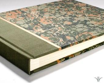 Photo Album Scrapbook Green and Copper Marble - Wedding Photo Album, Photo Booth Guest Book, Gift, Family Album, Scrapbook Album