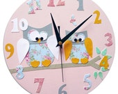 Owl Clock - Personalized / Children's wall Clock / Nursery Clock - Blue, Pink, Yellow