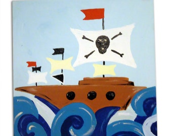 Pirate Ship Painting /  Canvas / Children's Art / Kids / Boys Decor / Nursery Decor