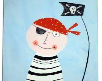 Pirate Painting /  Canvas / Children's Art / Kids / Boys Decor / Nursery Decor