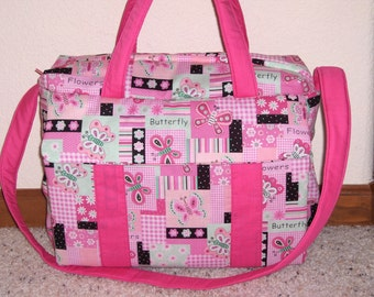 Flowers and Butterflies Diaper Bag w/change pad by EMIJANE