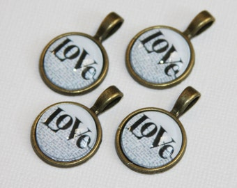 4 pcs of Love cabochon with antique brass setting 28x18mm