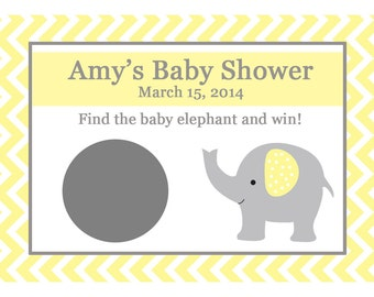 24 Personalized Baby Shower Scratch Off Game Cards -  ELEPHANT