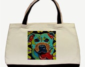 Pit Bull Tote, Pit Bull Book Bag, Pit Bull Purse, Pit Bull Bag, Pit Bull Art, Pit Bull Painting, Pit Bull Travel Bag by Krelly Designs