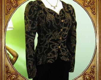 80s does 40s does Renaissance velvet Scott McClintock velvet peplum sparkly jacket. S.
