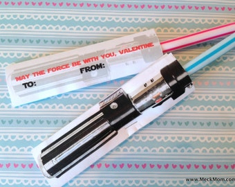 INSTANT DOWNLOAD - Star Wars Light Saber Valentines for Pixy Stix - Printable Set