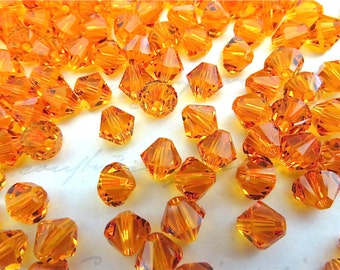 20 Tangerine Swarovski Crystals Bicone 5328 6mm