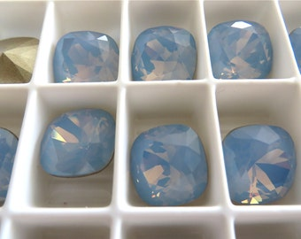 4 Air Blue Opal Foiled Swarovski Crystal Square Cushion Cut Stone 4470 12mm