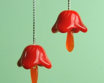 Vintage Red Tulip Drop Earrings