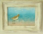 Ocean Art Print, Sea Life Print, Sandpiper Print, Sandpiper Linocut, Beach Art Print, Beach Wall Decor, Aqua Sea Print, Nautical Art
