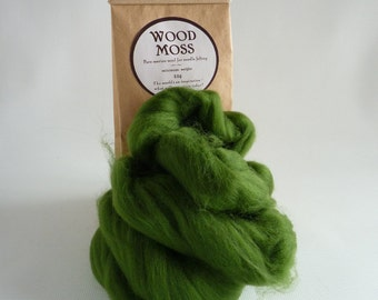 Mid green Merino roving, 25g (1oz) Wood Moss,  21 micron roving, merino tops, wet felting, needle felting, needle felt wool, green wool tops