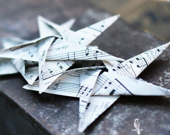 3 Handmade Origami Paper Stars made with Vintage Sheet Music decoration