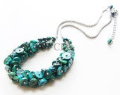 Chrysocolla Scales Necklace - a cluster of chrysocolla discs hanging from a matte rhodium chain (N6)
