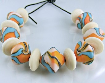 Lampwork Glass Beads Etched Coral Ivory Turquoise Lampwork Bead Set SRA Beads